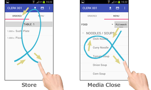"Close/Media-Close by ""Gesture Entry"""